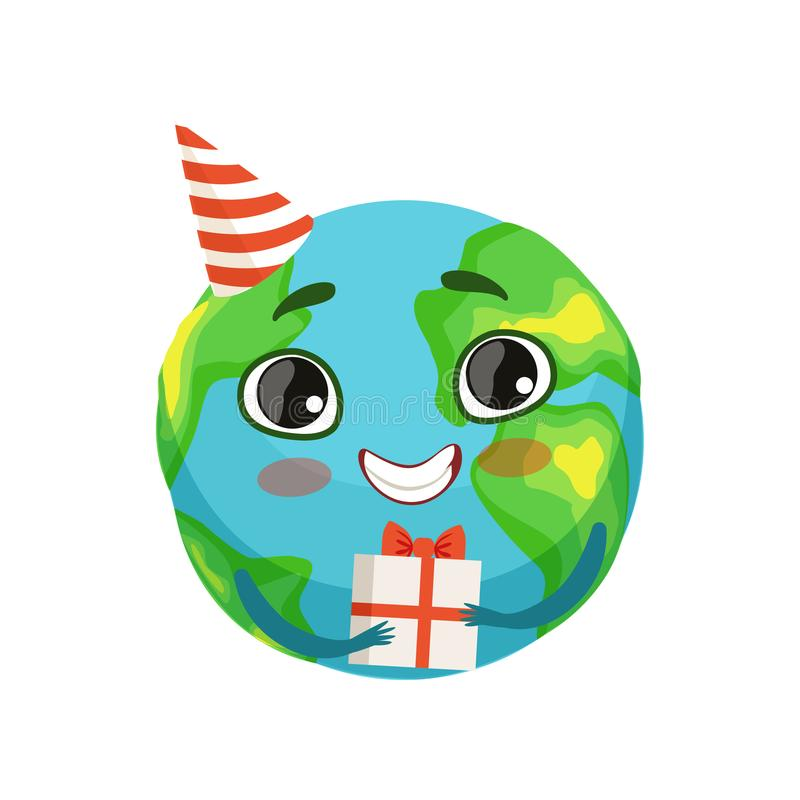 Funny Earth planet character in party hat holding gift box, cute globe with smiley face and hands vector Illustration stock illustration