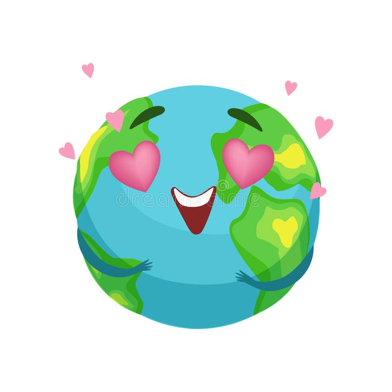 Funny Earth planet character with pink heart shaped eyes, cute globe with smiley face and hands vector Illustration. On a white background vector illustration