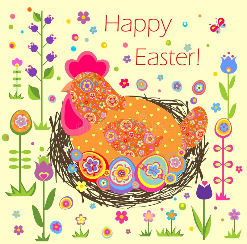 Funny easter applique. With hen, nest and painted eggs stock illustration