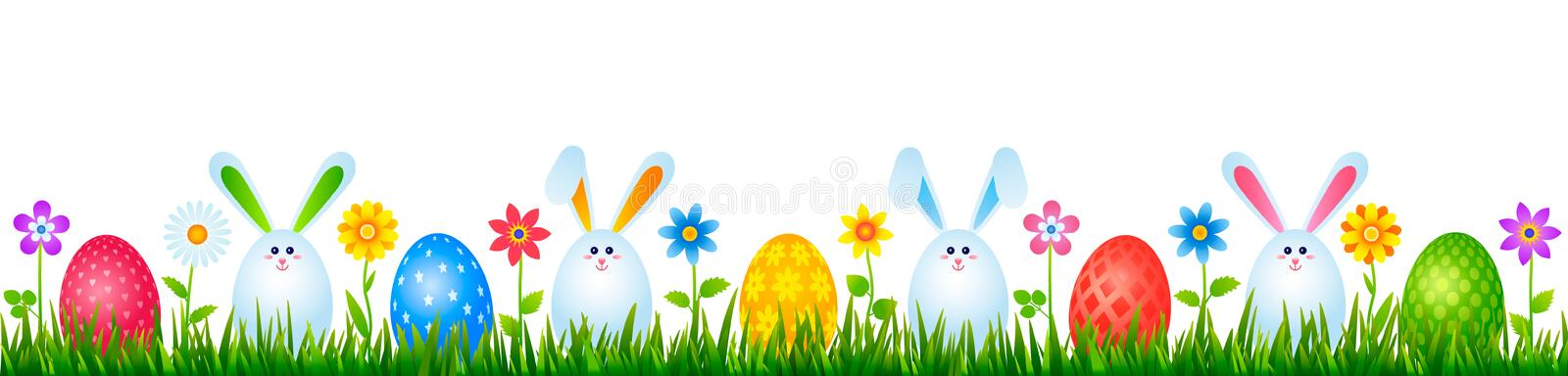 Funny easter bunnies eggs on green grass with flowers. easter and spring concept. vector illustration. Isolated royalty free stock photos