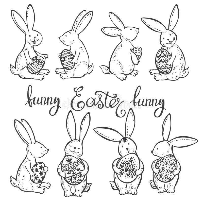 Funny Easter bunnies with festive decorative eggs. Vector illustration. Outline drawing, Easter collection element. Easter set with funny rabbits. Black and royalty free illustration