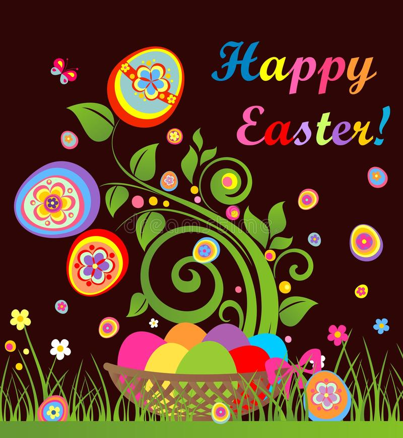 Funny easter card with tree and basket with colorful eggs stock illustration