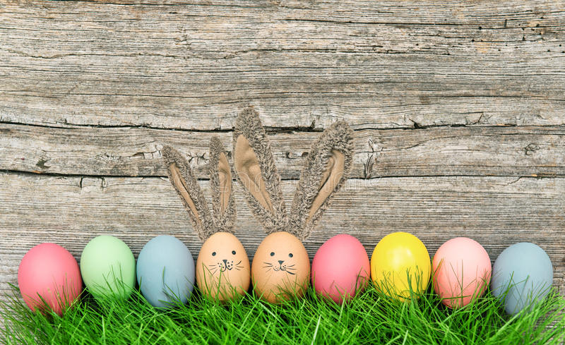 Funny easter eggs bunnies with big ears royalty free stock images