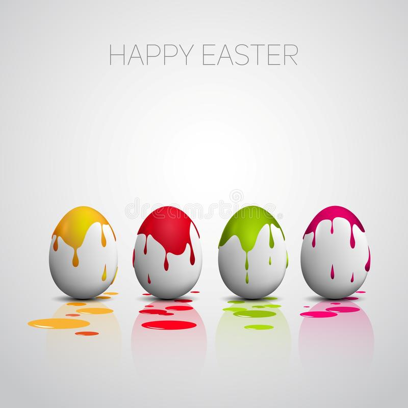 Funny Easter eggs with color splatters vector illustration