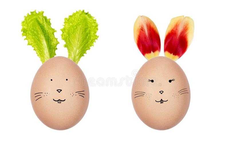 Funny Easter eggs decorated with fresh salad leaves and tulip petals. Bunny faces drawn on the eggs. Creative Easter decoration. royalty free stock photos
