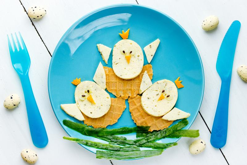 Funny Easter food for kids. Funny Easter food art idea for kids stock photos