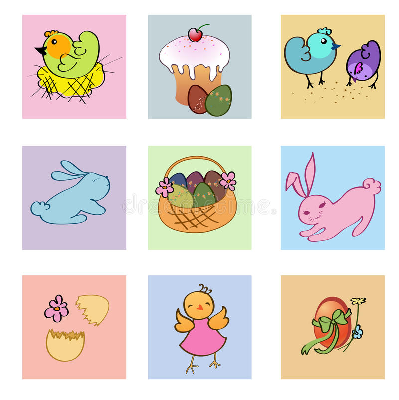 Funny easter icons royalty free illustration