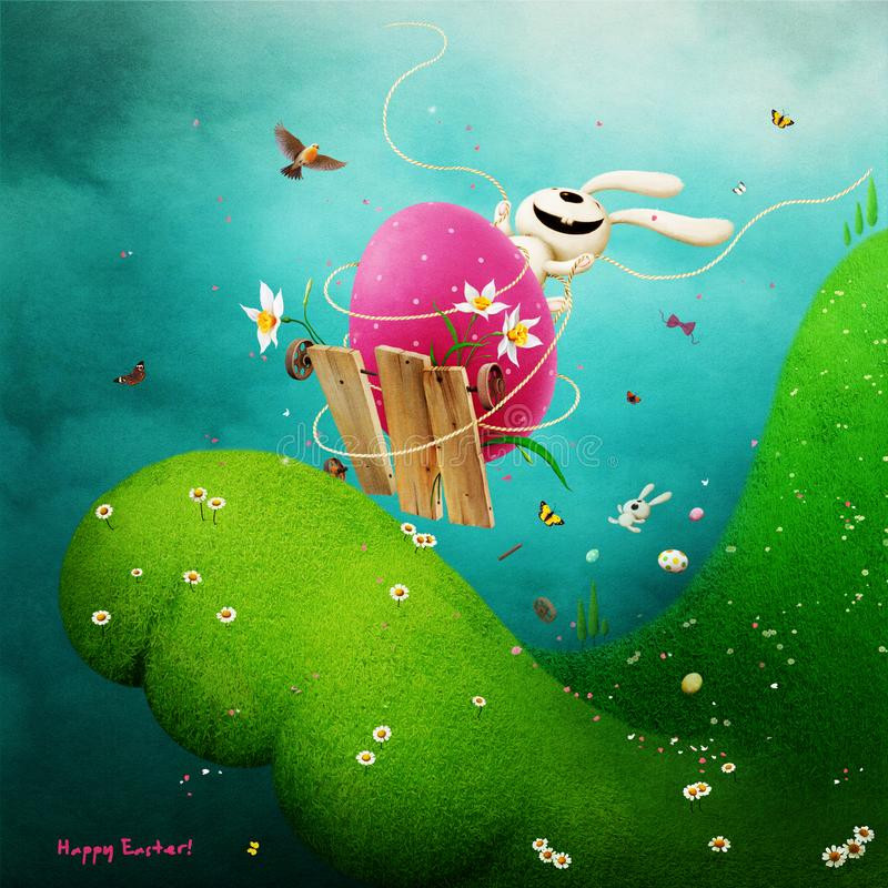 Funny Easter. Spring Holiday greeting card or poster for Easter with funny Bunny on Easter egg, rushing from the mountain stock illustration