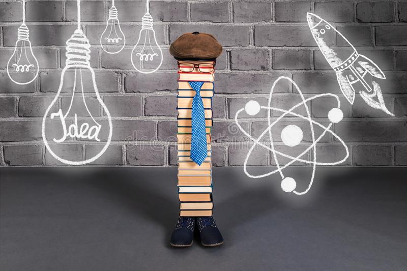 Funny education idea, man teacher with his ideas, aspirations an. D dreams stock image