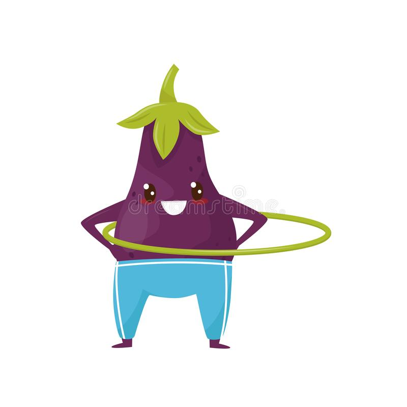Funny eggplant spinning the hula hoop, sportive vegetable cartoon character doing fitness exercise vector Illustration. Isolated on a white background vector illustration