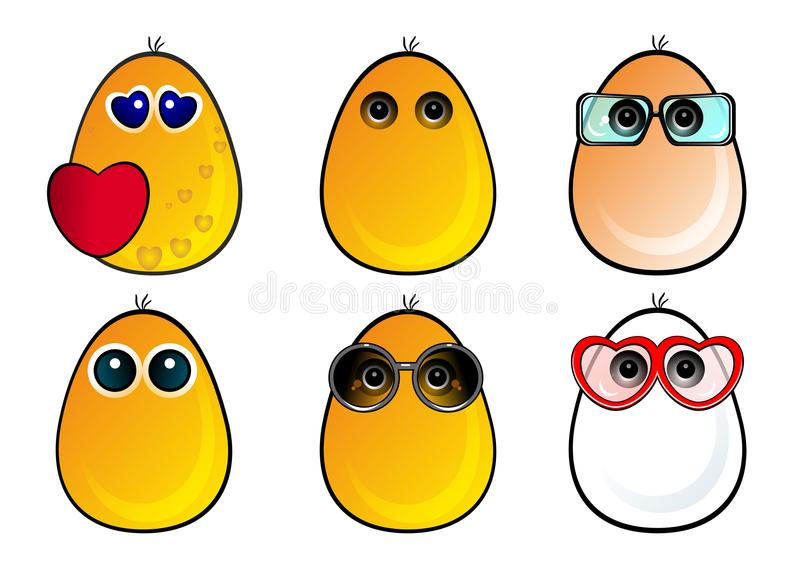 Funny eggs faces, new, emotion, smiles, spectacles, in love, funny faces, vector, illustration. Funny faces in spectacles, funny characters, funny eggs, smiles royalty free illustration