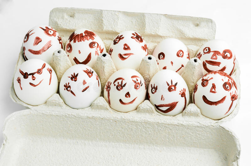 Funny eggs. Sitting in the tray.Easter eggs.Easter 2015 royalty free stock photography