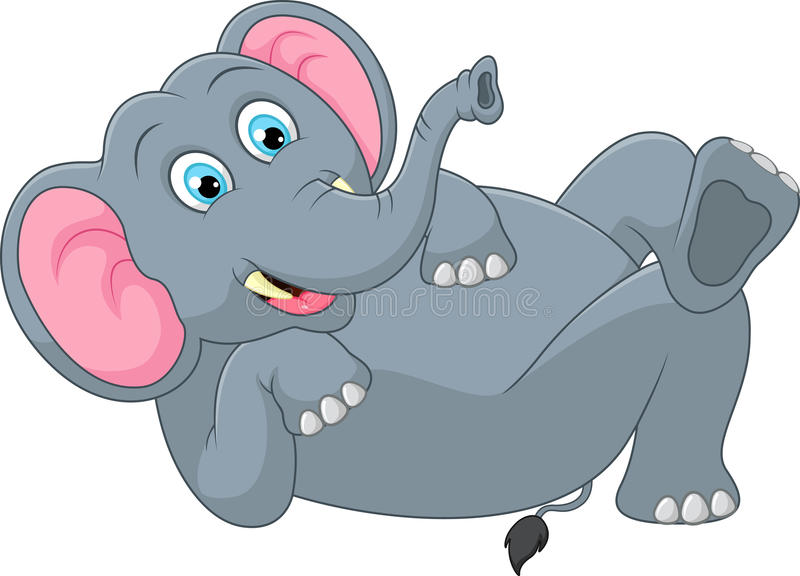 Funny elephant cartoon vector illustration