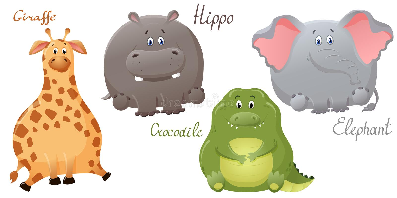 Funny elephant, giraffe, crocodile and hippopotamus. Set of vector cute fat cartoon characters. The concept of fun design for royalty free illustration