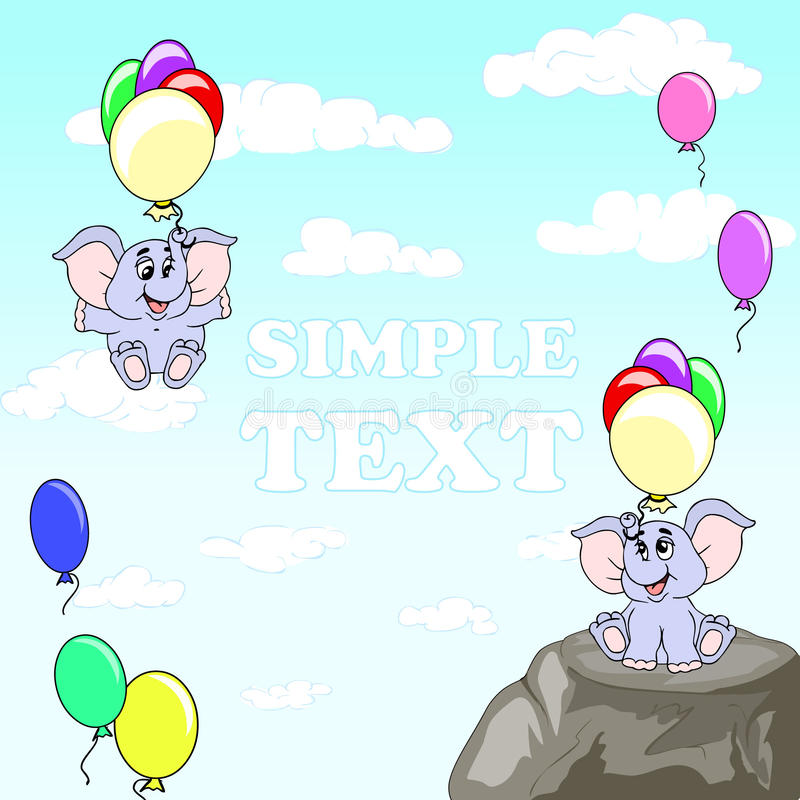 Funny elephants with balloons. Elephant with big ears flying on multi-colored balloons. The sky with clouds. Children postcard. stock illustration