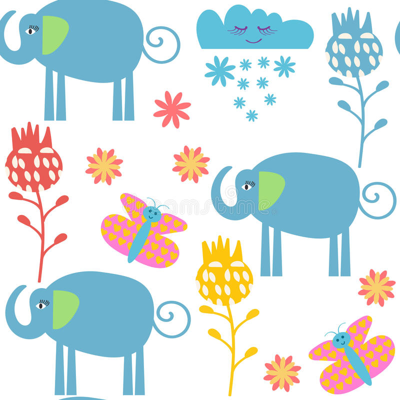 Funny elephants seamless pattern and seamless pattern in swatch menu, stock illustration