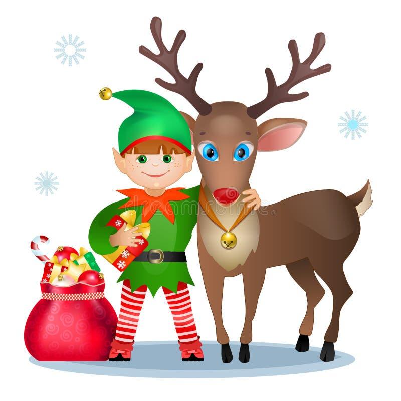 Funny elf and reindeer. stock illustration