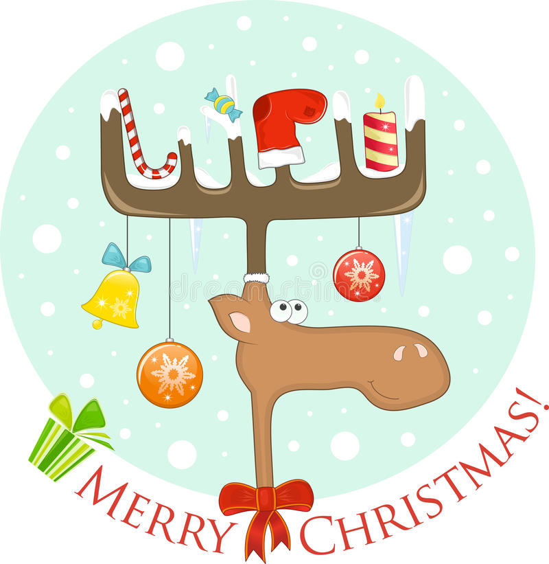 Download Funny Elk With Christmas Decoration On The Antlers Stock Vector - Image: 22091775