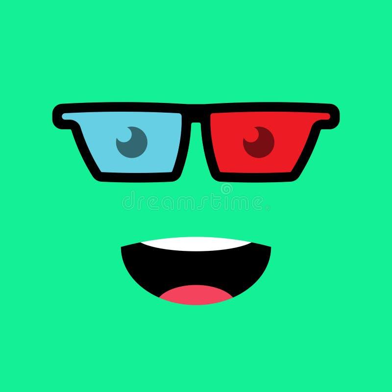 Funny emotion emoji face in 3D glasses. Simple emoticons pictograms. Vector illustration EPS 10 vector illustration