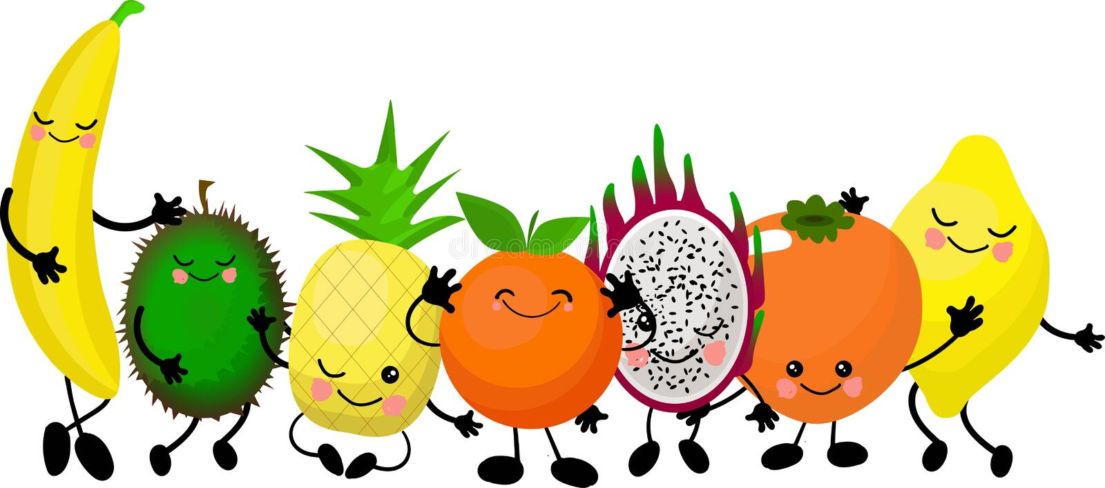 Funny emotional smiling fruits and vegetables. Smiling faces. Cute food characters. Farm product. Vegetarian food. Hand drawn kids royalty free illustration