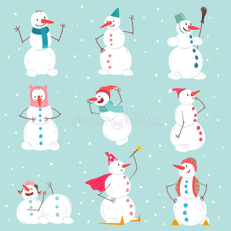 Funny emotional snowmen characters set in different situations, Christmas and New Year holidays decoration elements vector illustration