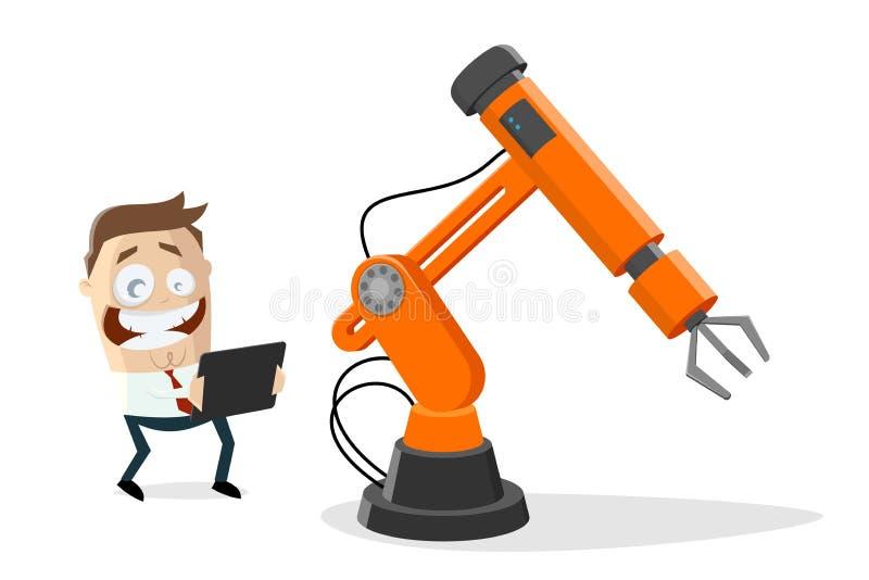 Funny empresario de caricaturas con robot industrial y tablet ilustración del vector
