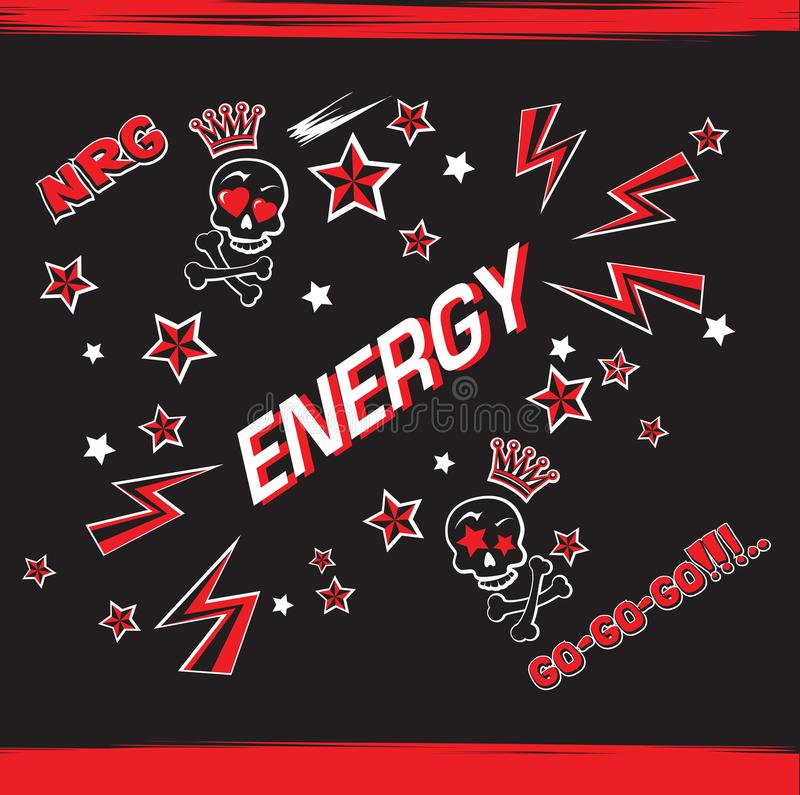 Funny energy energetic illustration with cartoon crowned skulls royalty free illustration