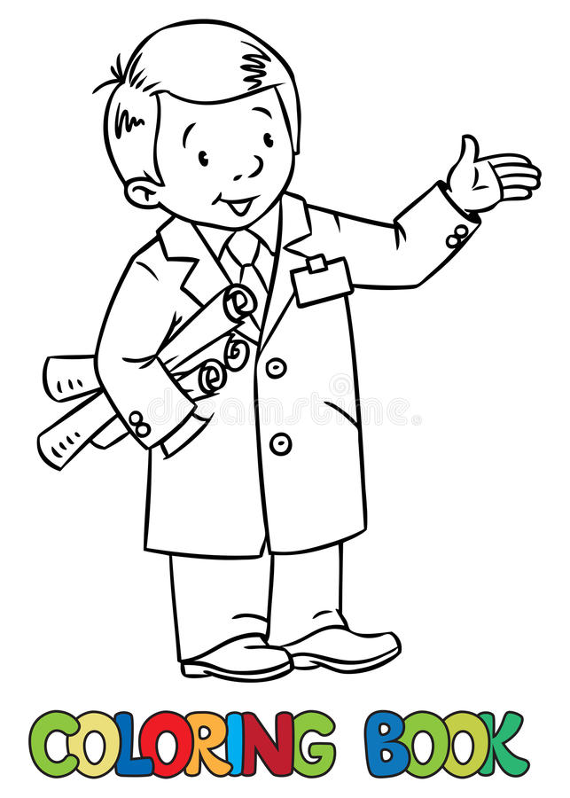 Funny engineer or inventor. Coloring picture of funny engineer or inventor. A man in coat with drawings showing by hand. Profession series. Childrens vector royalty free illustration