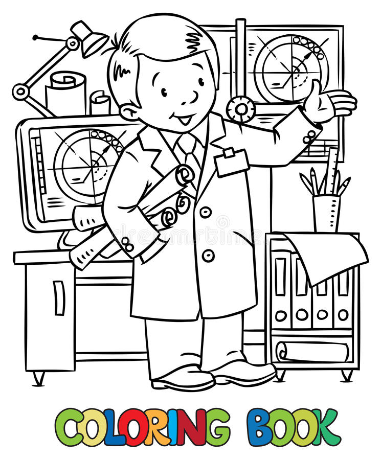 Funny engineer or inventor. vector illustration