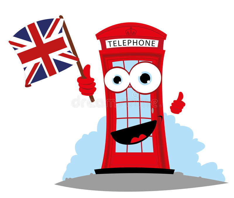 Funny English telephone. Cartoon representing a funny English Telephone, holding an English flag vector illustration