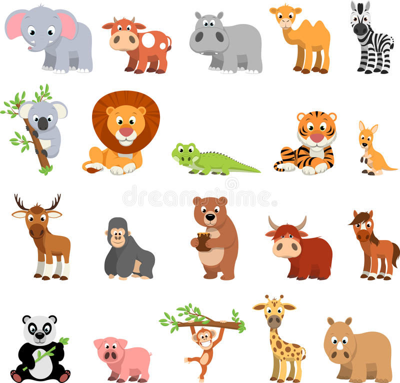 Funny exotic animals vector illustration