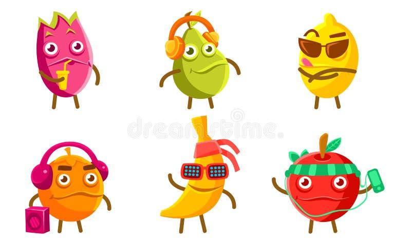 Funny Exotic Fruit Characters Set, Pitahaya, Pear, Lemon, Orange, Banana, Apple Different Activities Vector Illustration royalty free illustration