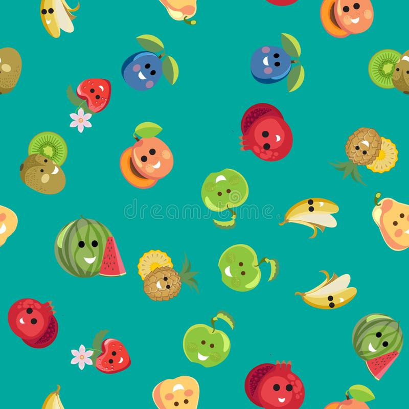 Funny exotic fruits pattern. Seamless pattern from groups of funny exotic fruits vector illustration