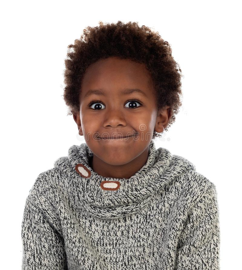 Funny expression of a small african child stock images