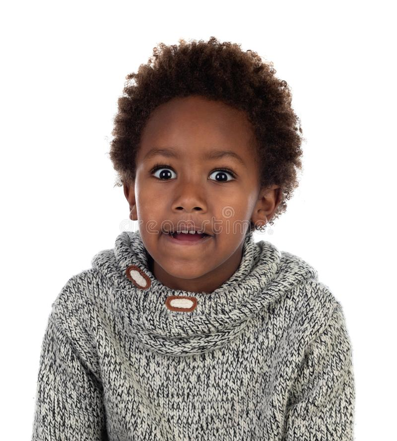 Funny expression of a small african child stock image