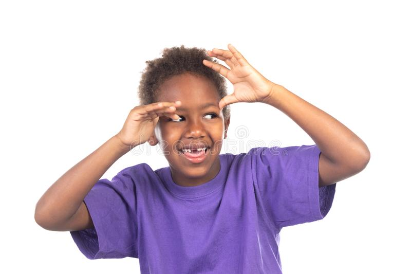 Funny expression of a small african child royalty free stock photography