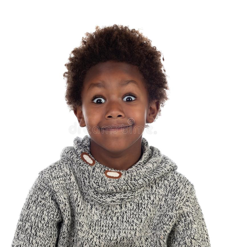 Funny expression of a small african child stock photos