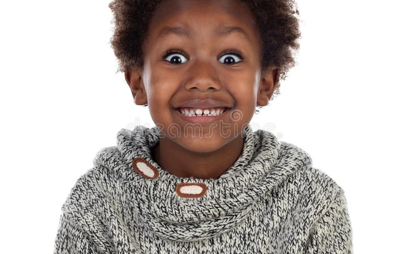 Funny expression of a small african child royalty free stock photos