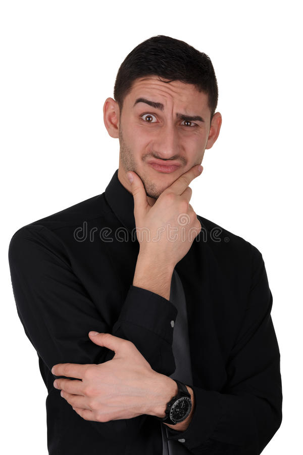 Funny Expression of a Young Man Thinking royalty free stock images