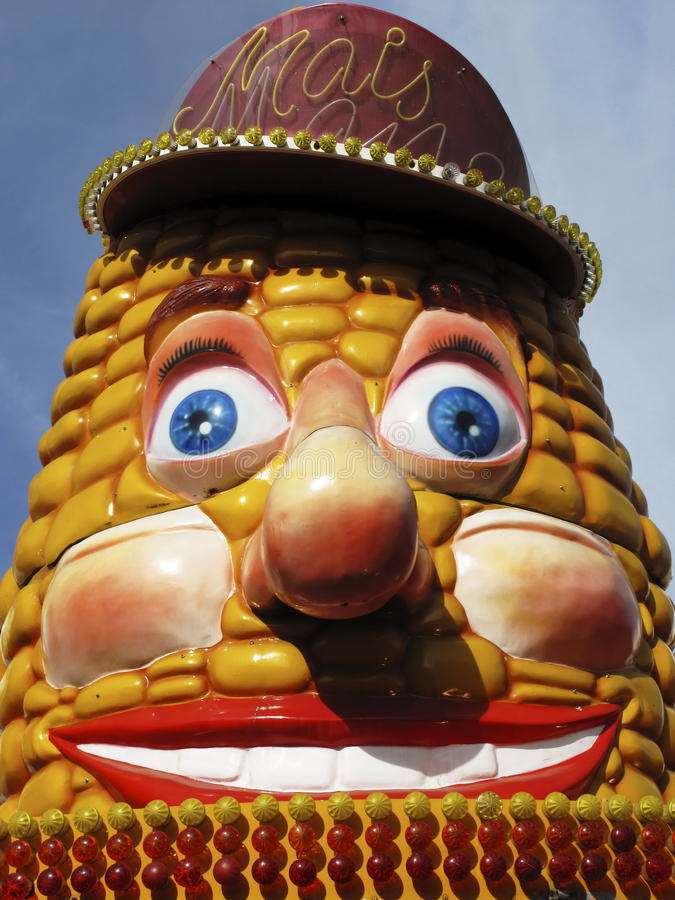 Funny face. Corn stall with funny face stock images