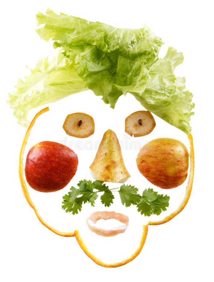 Funny face. Made from fruits stock images