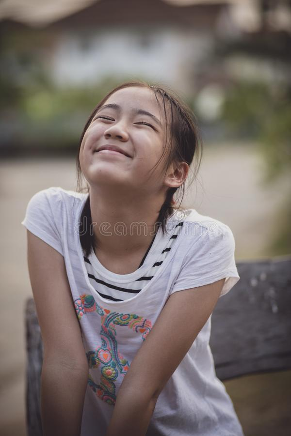 Funny face asian teenager royalty free stock images