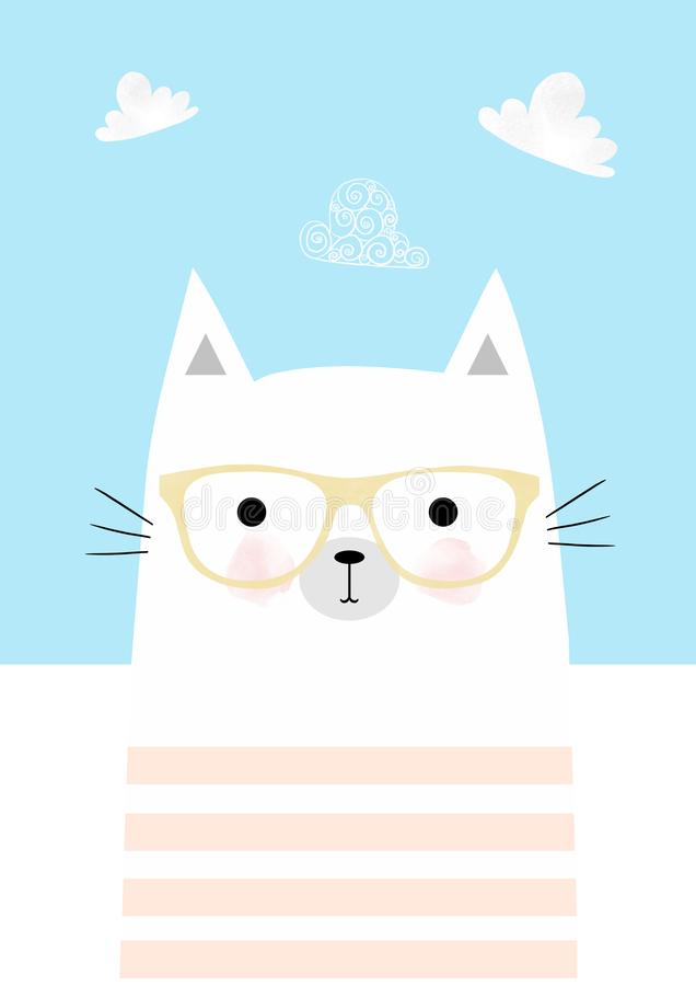 Funny face cat wearing glasses stock illustration