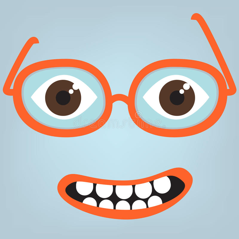 Funny face with glasses vector illustration