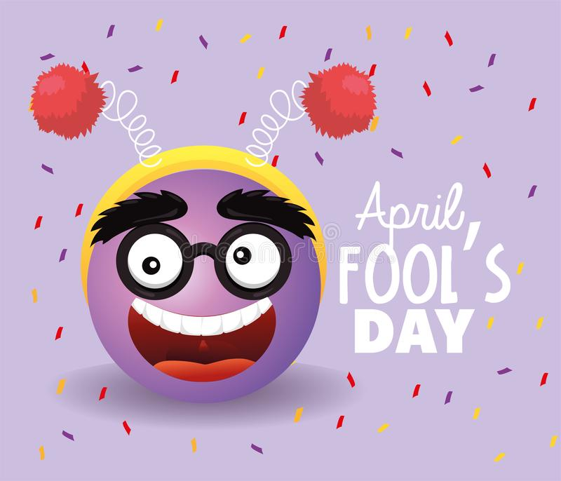 Funny face with glasses to fools day royalty free illustration