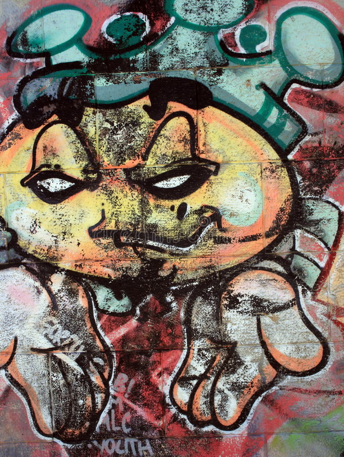 Funny face Graffiti stock image