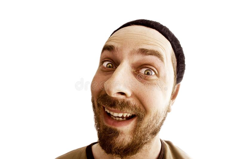 Funny face of joyful weird man isolated on white royalty free stock photo