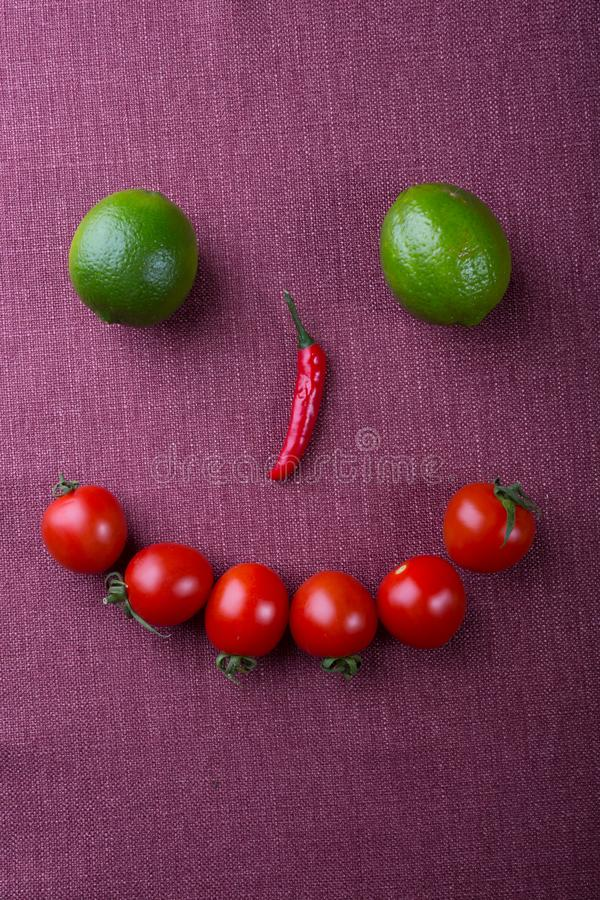 Funny face made from different groceries royalty free stock image