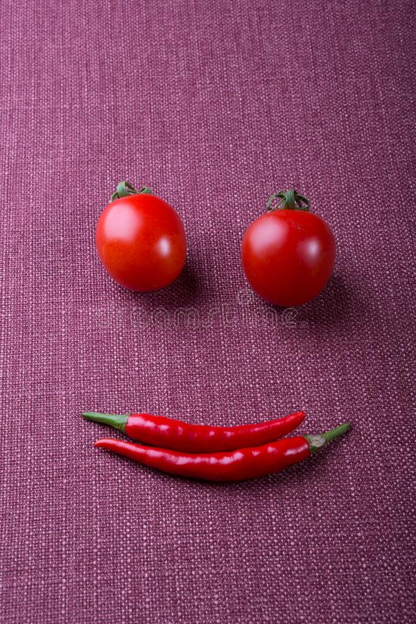 Funny face made from different groceries stock photo