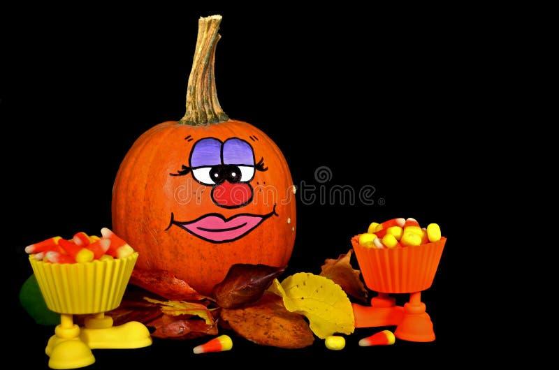 Funny face on pumpkin